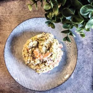 salade de quinoa, avocat et crevettes